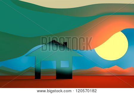 House glass material icon on abstract landscape backdrop