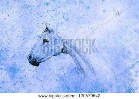 horse drawing and little fairy on old paper, vintage paper and old structure with color spots.