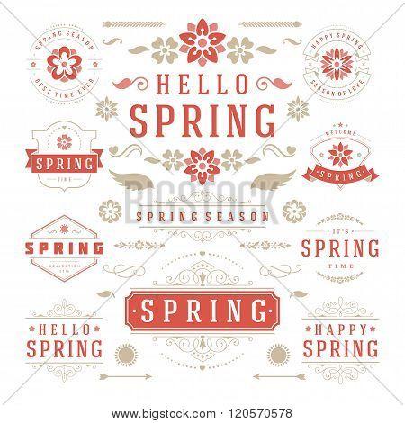 Spring Typographic Design Set. Retro and Vintage Style Templates.