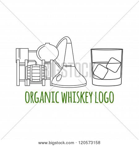 Modern Line Style Logo, Branding,  Logotype,  Badge  With Whiskey Distilling Process And A Glass Of