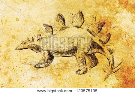 Stegosaurus pencil drawing on old paper, vintage paper and old structure with color spots. Original