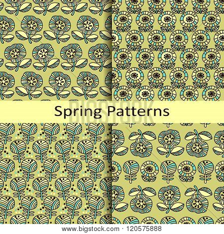 set of four floral hand drawn spring patterns