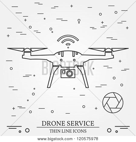 Drone Service.  Video And Photography Drone Services. Thin Line Icons. Vector Illustration.