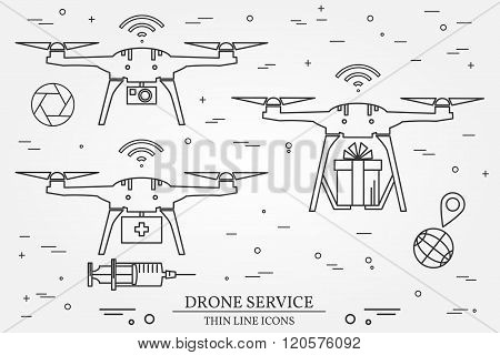 Drone Service. Drone Medical, Delivery, Video And Photography Service. Thin Line Icons. Vector Illus