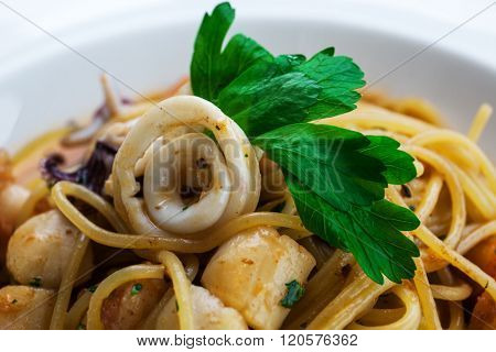 lunch with seafood and pasta