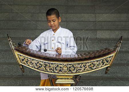 Boy Playing Xylophone In Bangkok, Thailand