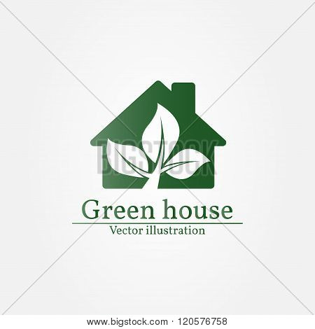 Green House Logo. Vector Illustration.