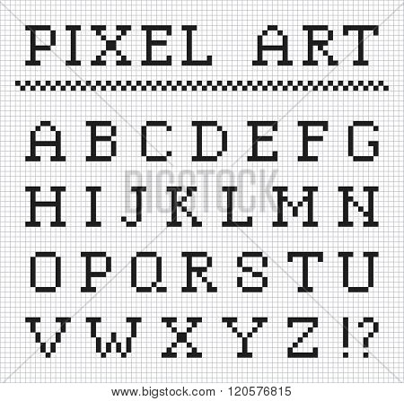 Pixel font. Vector set of pixel letters
