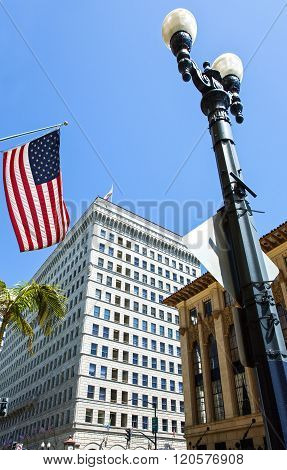 San Diego, U.S.A. - June 2, 2011: California, buildings of the Gas Lamp quarter.