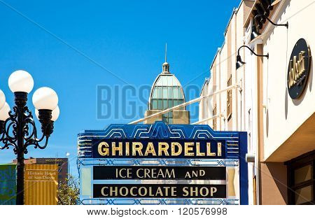 San Diego, U.S.A. - June 2, 2011: California, an ice cream and chocolate sign of the Gas Lamp quarter.