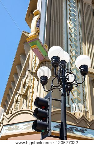 San Diego U.S.A. - June 2 2011: California, upward view of a typical building of the Gas Lamp quarter.