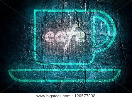 Coffee Accessories Icon with neon Cafe text