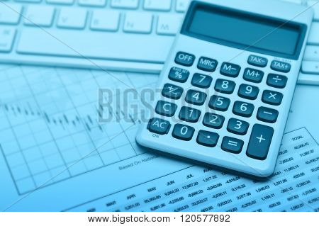 Calculator Button Plus On Keyboard And Graph Paper, Blue Tone, Accounting Background