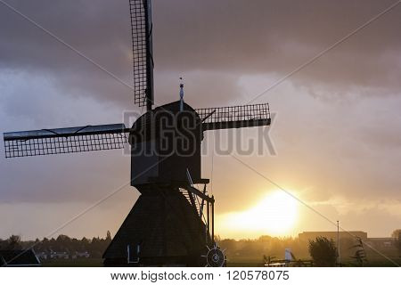 Windmill In Kinderdijk In Holland