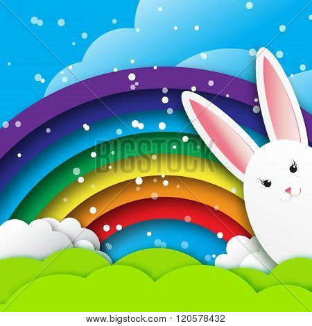 Origami Greeting card with Happy Easter - with white Easter rabbit and rainbow.