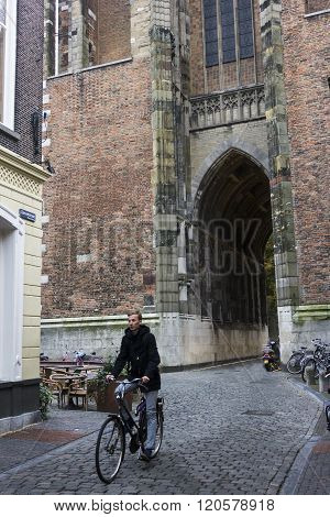 Bicyclist In Utrecht In Holland