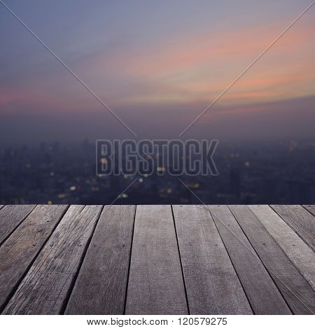Empty Old Wood Floor With Blurred Aerial View Of Cityscape On Warm Light Sundown, For Your Product D