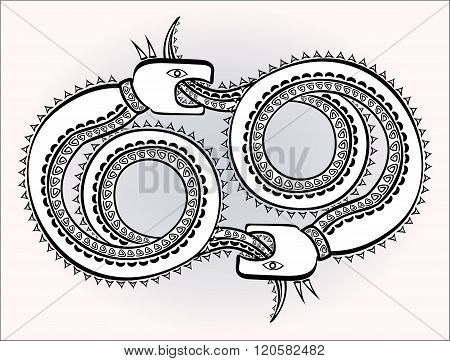 Decorative ethnic pattern in style of Indian and Northern Russian populations of stylized snakes cha