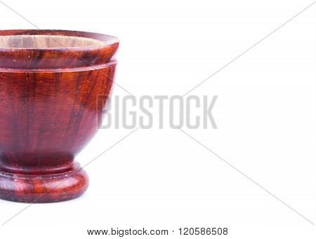Wooden Mortar Isolated On White Background
