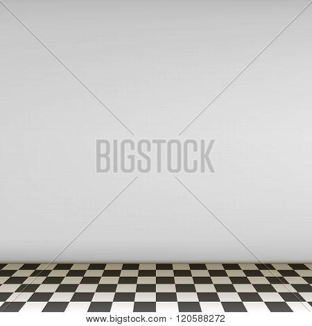 Grey Empty Scene With Checkerboard Floor