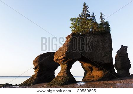 Hopewell Rocks at low tide in New Brunswick in Canada