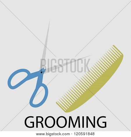 Grooming Scissors And Comb
