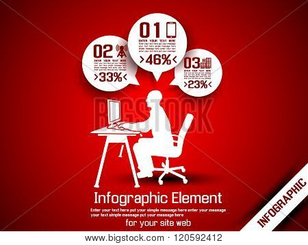 Business Man Infographic Option Three 8 Red