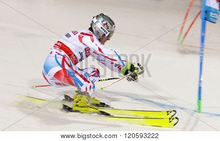 Skiier Julien Lizeroux Skiing At A Slalom Event