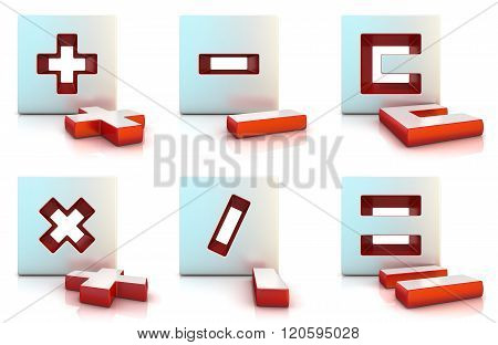 Plus minus multiply divide equally and clear sign. 3D render illustration isolated on white.