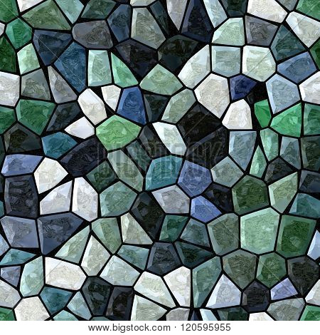 Dark Green Blue Marble Irregular Plastic Stony Mosaic Seamless Pattern Texture Background