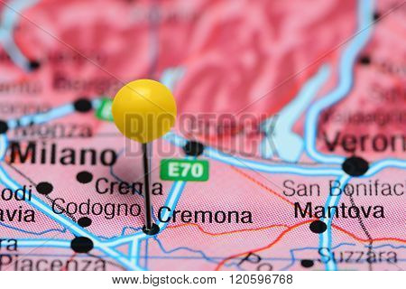Cremona pinned on a map of Italy