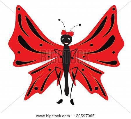 Cartoon Red Butterfly