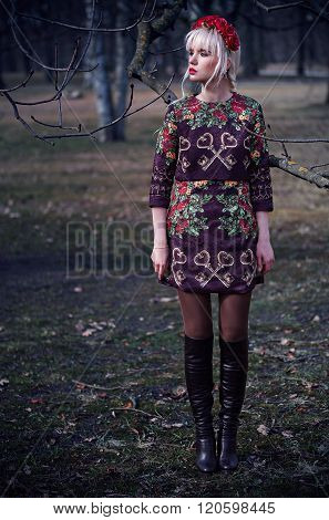Beautiful Young Woman In Posing Outdoors