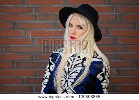 Portrait Of Blonde Woman With Perfect Makeup