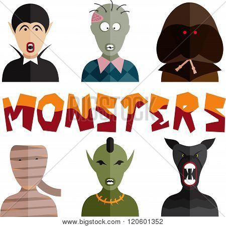 Flat Design Monsters Icons . Concept Of Graphic Clipart Work