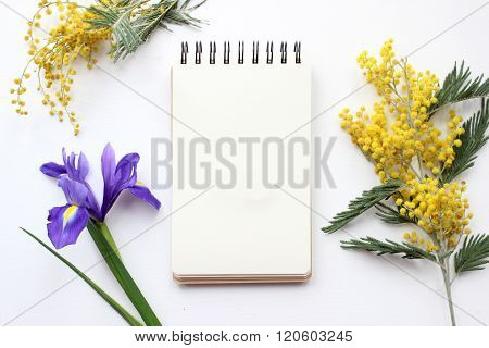 Spring Flowers Mimosa And Iris Mockup. Post Blog Social Media.