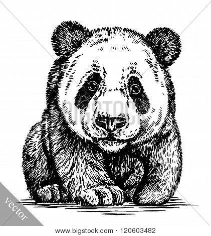 engrave ink draw panda illustration
