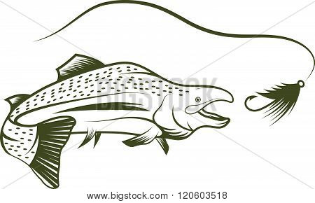 Salmon And Lure Vector Design Template . Concept Of Graphic Clipart Work