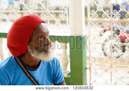 Elderly rasta man in Bluefields, Nicaragua