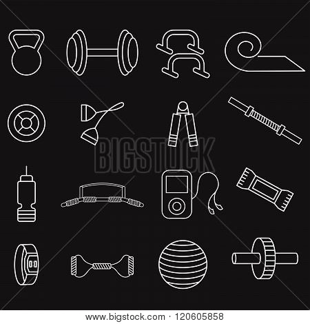 Line Craft Vector Icons Set Of Fitness Theme