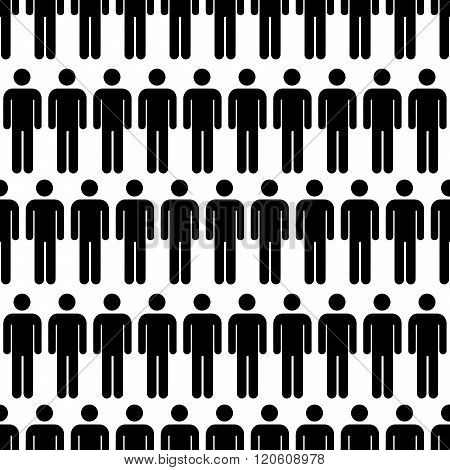 Crowd of black simple men icons on white seamless pattern