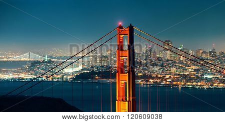 Golden Gate Bridge in San Francisco at night panorama