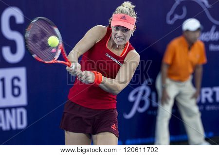 HUA HIN, THAILAND - DEC 31:  Angelique Kerber of Germany in action during a match of WORLD  TENNIS THAILAND CHAMPIONSHIP 2016 at True Arena Hua Hin on January 1  2016 in Hua Hin Thailand
