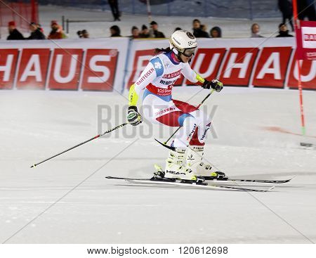 STOCKHOLM SWEDEN - FEB 23 2016: Wendy Holdener (SUI) skiing (side view) at the FIS Alpine Ski World Cup - city event February 23 2016 Stockholm Sweden