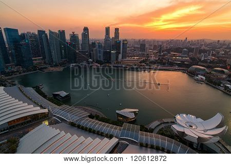 Singapore City At Twilight