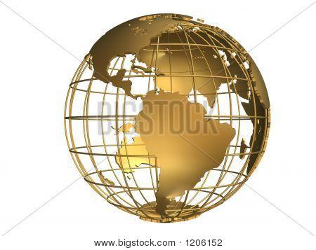 3d rendered illustration of a golden globe poster