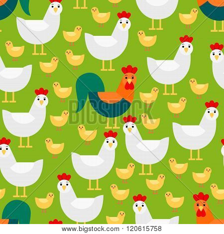 Seamless pattern with chicken family