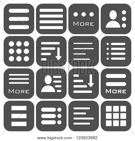 Hamburger Menu Icons Set. Bar Line Hamburger Menu Collection. Vector Illustration of Hamburger Menu Isolated on dark background.