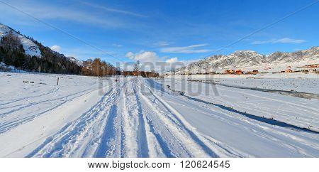 Winter Panorama Of The Village Ongudai, Altai, Siberia, Russia