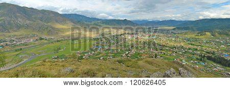 Summer Panorama Of The Village Ongudai, Altai, Siberia, Russia